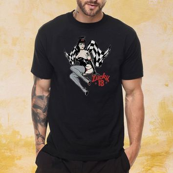 Lucky 13 Angela Pin Up Girl Lady Luck Motorcycle Hot Rod Men's T Shirt
