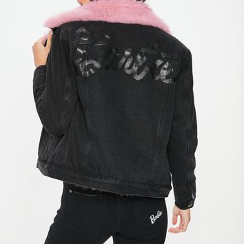 Missguided - Barbie x Missguided Black Denim Pink Fur Lined Jacket