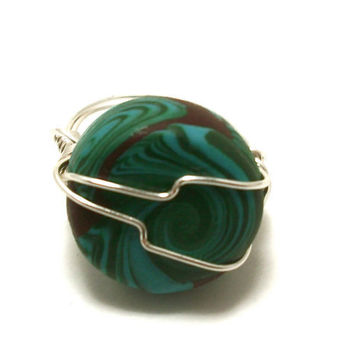 Wire wrapped Polymer Clay Ring by moonknightjewels on Etsy