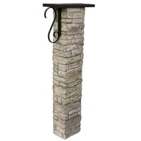 Eye Level Gray Stacked Stone Mailbox Post Kit with Decorative Scroll-50-PK40SSGS - The Home Depot