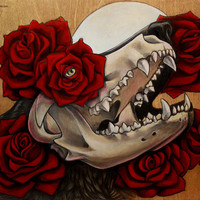 """Wolf Skull and Roses 8x10"""" PRINT"""
