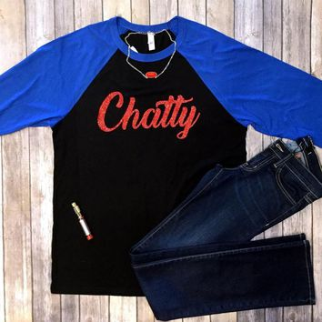 Chatty Red Glitter 3/4 length t-shirt