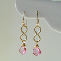 Gold Infinity Earrings with Pink Mystic Quartz Briolettes . Fall 2013 . Back to School . Bridal . Bridesmaids . Mothers . Daughters