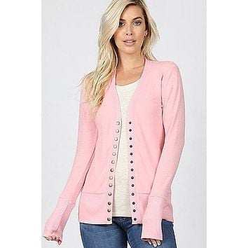Snap Up Cardigan - Dusty Pink