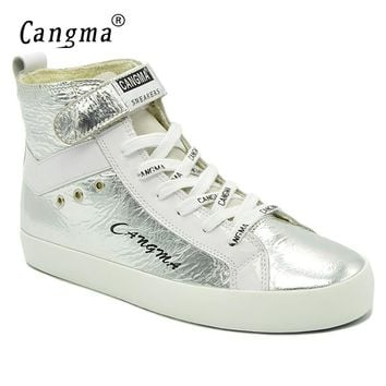 CANGMA Italian Fashion Brand Sneakers Women's Boots Silver Shoes Patent Genuine Leather Female Footwear Casual Shoes Ankle Boots