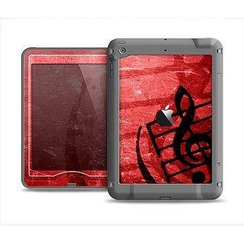 The Scratched Red Surface with Black Music Note Apple iPad Mini LifeProof Nuud Case Skin Set