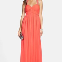 Betsy & Adam Embellished T-Back Matte Jersey Gown