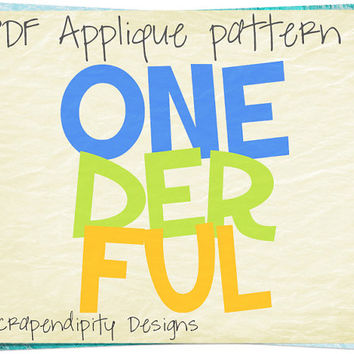Onederful Applique Template - Kids Applique Pattern / Boys Applique Shirt / First Birthday Party / 1st Birthday Digital Printable AP192-D