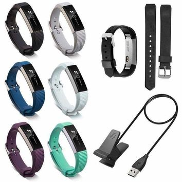 Replacement TPU Metal Buckle Watch Band Wrist Strap + USB Cable For Fitbit Alta