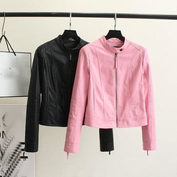 2017 Autumn Winter Women New Fashion Faux Leather Jackets Lady Pink Black Long sleeve Motorcycle Clothing Outerwear