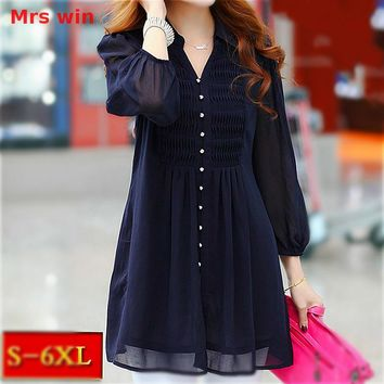 Mrs win Tunics Women Tops tunic ruffle blouse Women 6xl Plus Size Lace Xxl Womens Clothing Shirt Womens Long Sleeve Shirts  5xl