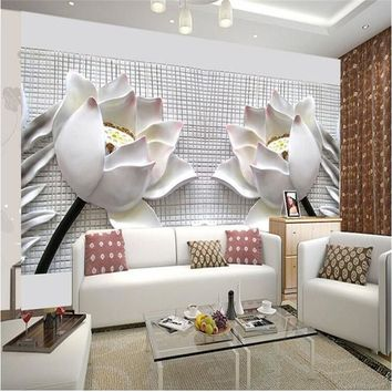 photo wallpaper wall painting modern art non-woven paper 3d TV contracted sitting white lotus flowers large mural wall paper