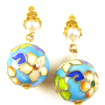 Miriam Haskell Earrings Cloisonne Danglers Russian Gold Floral Mounts Baroque Pearl Beads Signed
