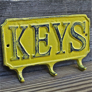 Cast Iron KEYS Hanger/ White Key Rack/ Bright by AquaXpressions