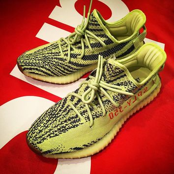 Adidas Women Men Yeezy 550 Boost 350 V2  Fashion Girl Boy Trewnding Personality Leisure Sport Running Shoe Sneakers Fluorescent green