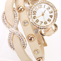 Beige Faux Leather High Polish Metal Infinity Pendant Watch Bracelet