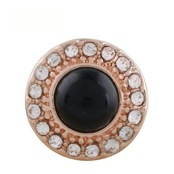 "Snap Charm Rose Gold Border Black Stone and Crystals 12mm Mini Size 1/2"" Diameter Fits Ginger Snaps"