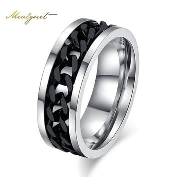Meaeguet Fashion Men's Ring The Punk Rock Accessories Stainless Steel Black Chain Spinner Rings For Men