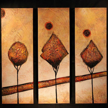 Sculptured Fine Art Journey Home Tree Abstract Oil Painting Interior Decor Gallery Wrap Textured Canvas