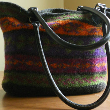 Felted Purse Tote Knitted Fair Isle