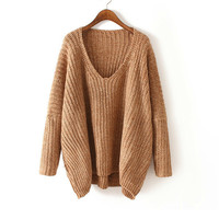 V Neck Knit Long Sleeve Sweater - Khaki/Green/Grey