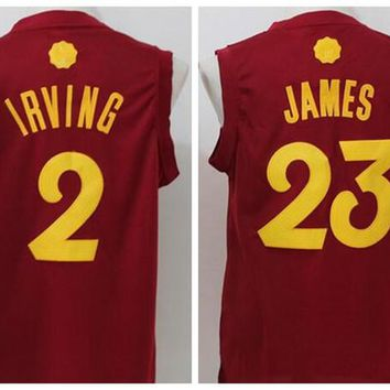 New Style 23 LeBron James Christmas Day Jerseys 2016 Xmas 2 Kyrie Irving 0 Kevin Love Shirt Uniforms For Sport Fans Team Color Red