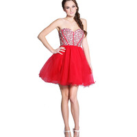 Red Tulle Rhinestone Strapless Lace Up Dress Prom 2015