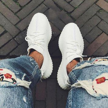 Adidas Yeezy 550 Boost 350 V2 Fashion Women Men Leisure Personality Sport Running Shoe Sneakers Full White I