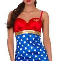 Wonder Woman Chemise With Cups And Rhinestones Babydoll DC Comics