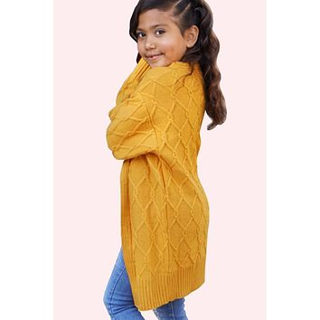 Fall Back To School Girls Chunky Knit Cable Knit Cardigan C