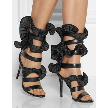 Lotus Stiletto Heel Open-toe Zipper High Heel Black Sandals