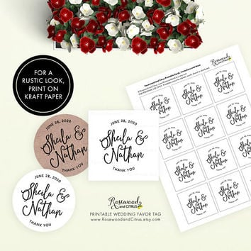 Wedding Favor Tags, Printable Tags, Script Wedding Thank You Tags, Wedding Favor Gift Tags, Thank You Favor Tag, Wedding Labels, Wedding Tag