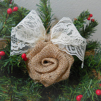 Ready to Ship! Set of 2 Burlap Rose Christmas Ornaments handmade of natural burlap, ivory lace and twine. Ships priority mail in 24 hours!