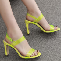New sexy patent leather transparent PVC sandals with buckle