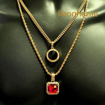 "HIP HOP RED RUBY or BLACK ONYX PENDANTS 24"" ROPE CUBAN CHAIN COMBO NECKLACE K01"