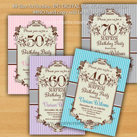 Birthday Invitation for any age, woman adult rose pink color 30th 40th 50th 60th 70th 80th 90th birthday invitation party invite - card 143