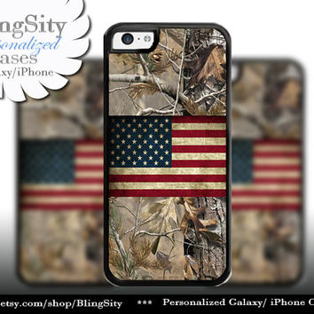 Camo USA Flag iPhone 5C 6 Plus Case iPhone 5s 4 case Ipod Realtree Cover Personalized real tree camo Country Inspired Hunting Girl