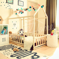 Montessori children bed 200x90cm/ King Single, waldorf children toy, nursery house bed, bed house, wood house, gift 2/3 FENCE