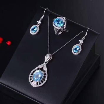 Natural blue topaz gem jewelry sets natural gemstone ring Pendant Earrings 925 silver Stylish Personality fan women fine jewelry