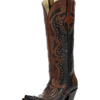 Corral Women's Black/Cognac Laser Inlay and Studs Boots - G1072