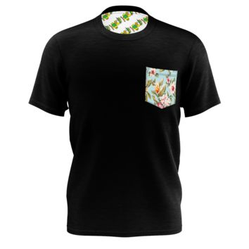 Black T-Shirt with Floral Pocket - Men's Pocket Tee