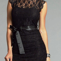 Sexy High Neck Corset Lace Mini Black Cocktail Dresses Sashed on sale on OnlinePromDress.com