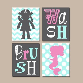 Mermaid Pirate BATHROOM Wall Art,Canvas or Prints,Brother Sister BATHROOM,Hot Pink Aqua Gray,Chevron Polka Dots,Bathroom Rules,Set of 4