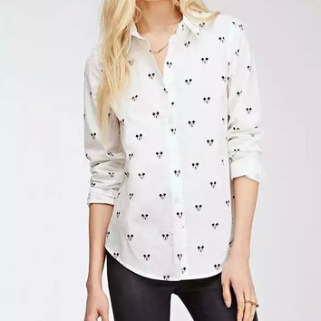 White Flat Pointed Collar Mickey Mouse Print Long Sleeve  Blouse