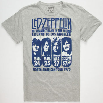 Trunk Ltd. Led Zeppelin North American Tour Mens T-Shirt Heather Grey  In Sizes
