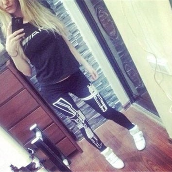 2015 Women Sport Pants Womens Trouses Fashion gun Cotton Blend Pant Capris Black Soft Yoga Fitness plus size = 1932998852