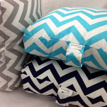 "SET of 3 - Navy, Blue and Gray Chevron Floor Pillows Cushions 30""X30""x4"" ~ SUPER SIZE (Filling Included)"