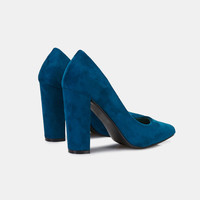 Faux Suede Pumps With Chunky Heel | Wet Seal