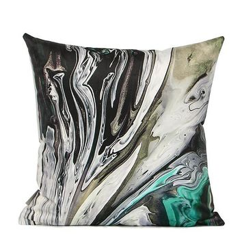 """Black Green Abstract Oil Painting Digital Printing Flannel Pillow 18""""X18"""""""