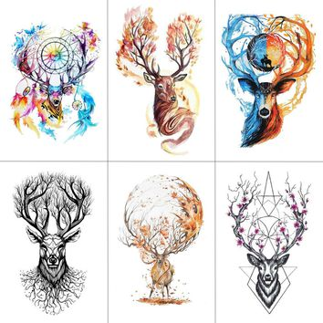TCOOL Watercolor Deer Temporary Fake Tattoo Body Art Sticker Animal Waterproof Women Men Hand Tattoo Hot Design 9.8X6cm A-118
